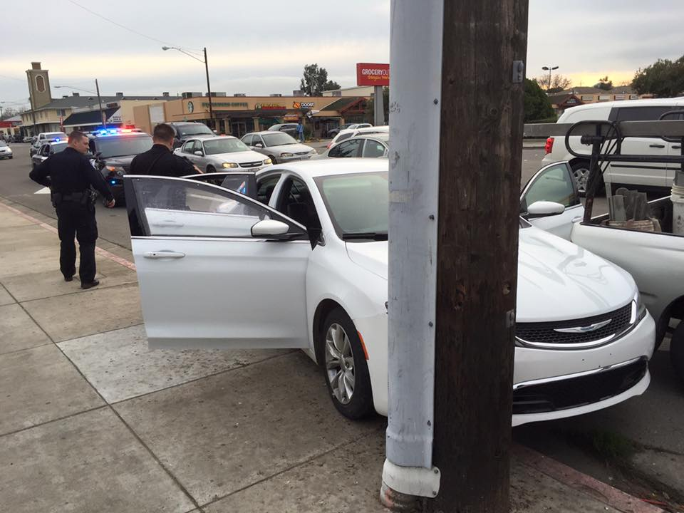 Car chase ends in crash, on-foot pursuit and arrest of driver. photo by Allen Payton