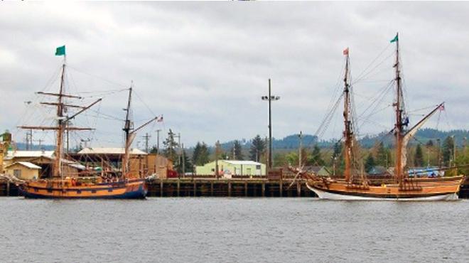 two ships landing