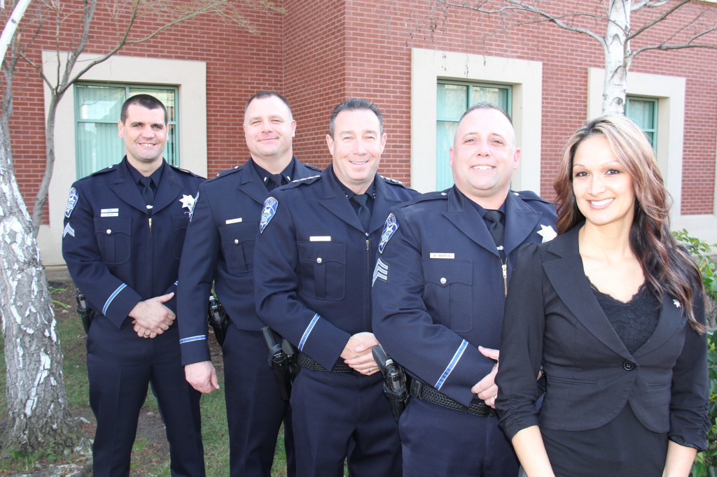 The Antioch Police Department recently promoted the following personnel (Left to Right): Corporal Gary Lowther, Lieutenant Trevor Schnitzius, (Chief Allan Cantando), Sergeant Rick Martin, and Lead Dispatcher Korina Meads. photo courtesy of APD
