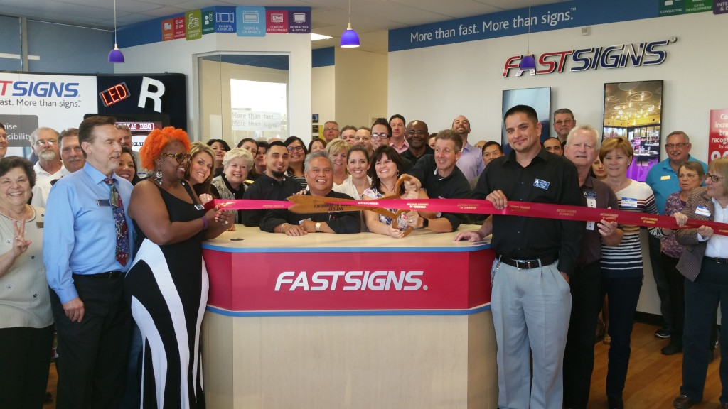 Antioch Chamber of Commerce members and community leaders join Fast Signs owner Randy Sabatte (with scissors) and staff for a ribbon cutting to officially celebrate their new location on Thursday, March 24, 2016.