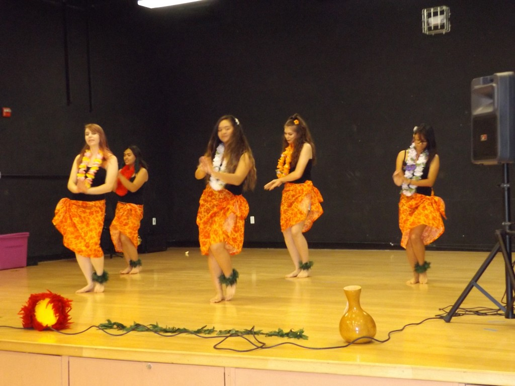 Members of the Hula Club performed a dance routine.
