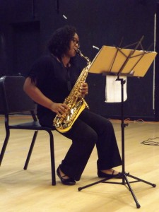 Merry D. Wilson performed Hey Jude on her saxophone during the talent show.