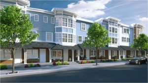 A side view design concept of the proposed townhomes on the old lumber company site in downtown.