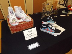 Special designs of pairs of Vans shoes were part of the art show.