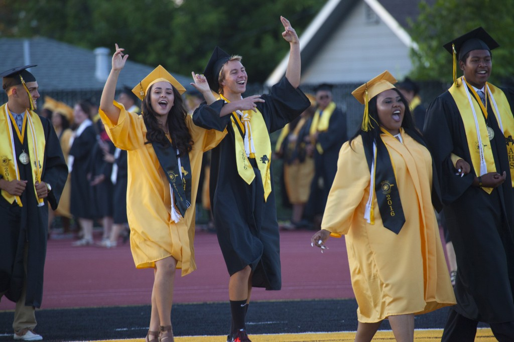 Antioch High graduates celebrate as they file in for the commencent ceremony, Friday night, June 2, 2016. photo by Luke Johnson