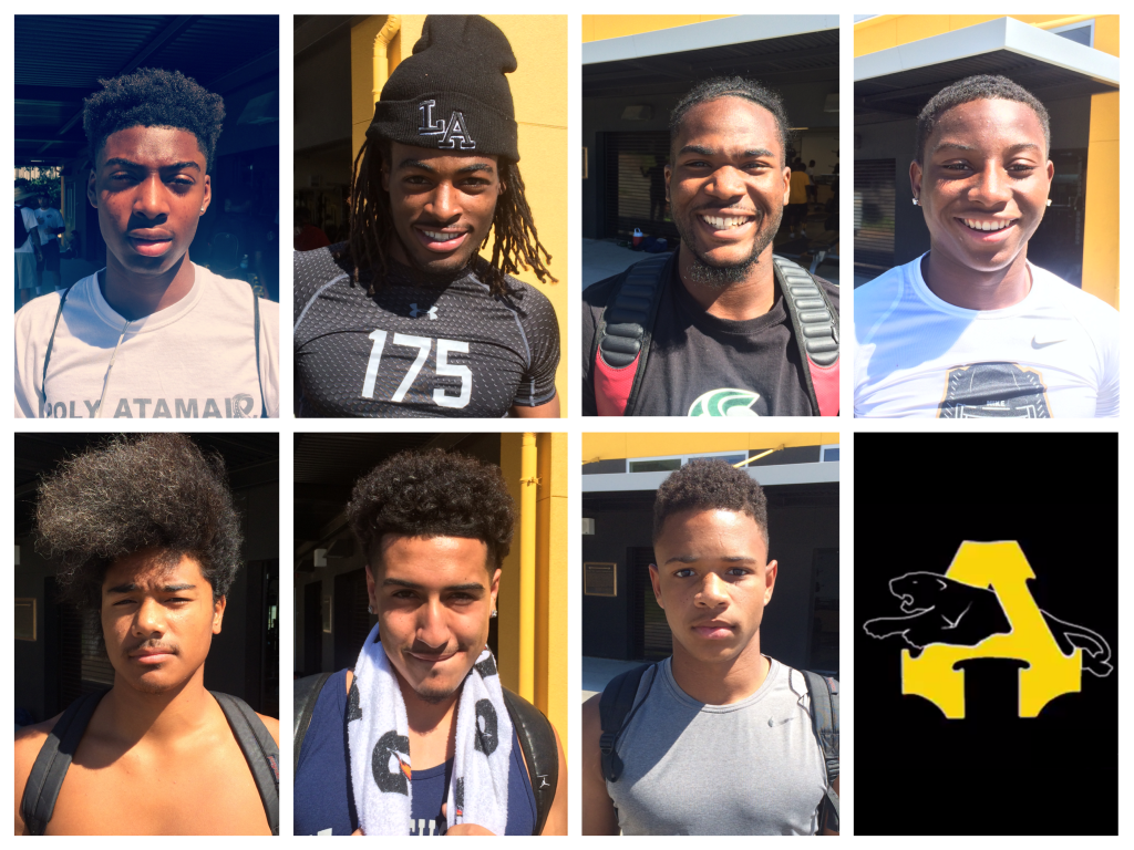 Antioch High School Varsity football players from left to right, top to bottom: