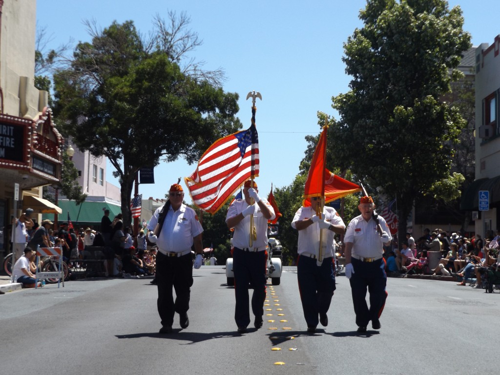 The Veterans Color Guard leads off the parade.