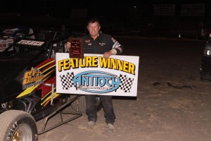 Roy Fisher #21 became the sixth different Wingless Spec Sprint winner is seven races.  Photo By Paul Gould Photography