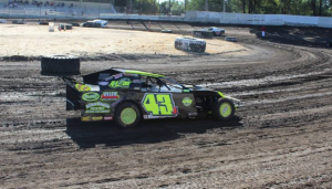 Al Johnson #43j has three second place B Modified feature finishes, but he may need a win soon to hold off Trevor Clymens in the championship battle.  Photo by Ryan Brown.