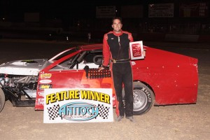Brian Cass #55 is now the ninth different A Modified feature winner at Antioch Speedway this season. Photo by Paul Gould