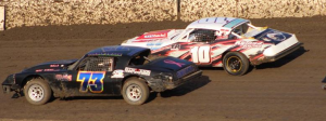 Hobby Stock point leader Guy Ahlwardt #10 and Jordan Swank #73 get ready to start their race.  Photo by Ryan Brown