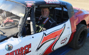 Robby Waldrop #7 gets ready to win his Hobby Stock heat race last week.  Photo by Ryan Brown.