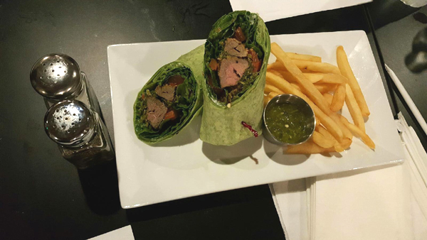 Plates' beef kabob wrap is just one of many eclectic menu items they offer for both lunch and dinner.