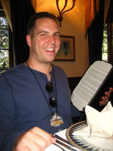 Joshua Shaffer eating lunch at the secretive Club 33 at Disneyland in October, 2012.
