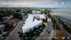 "A screenshot of the proposed townhomes on the old lumber company lot, aka ""The Yard"" from the City of Antioch's new promotional video."