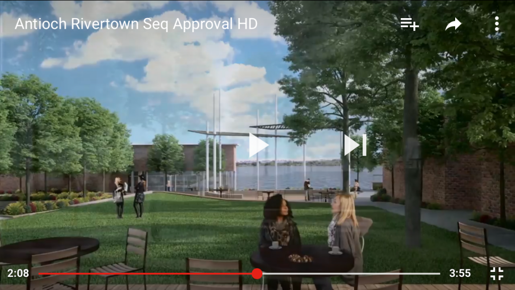 A rendering of the proposed, new look for an event center at Waldie Plaza in Antioch's downtown, Rivertown in a screenshot from the City's new marketing video.