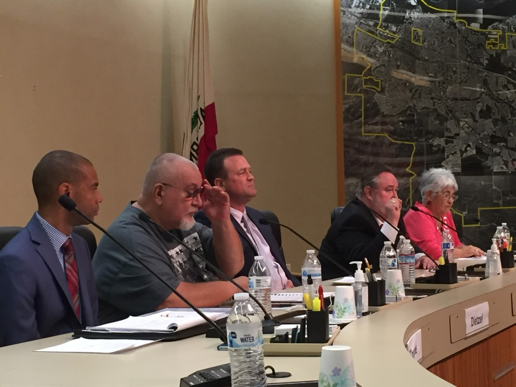 Antioch City Council candidate Fred Rouse, second from right, answers a question, as his opponents, Lamar Thorpe, Karl Dietzel, Kenny Turnage and incumbent Councilwoman Mary Rocha look on, during the forum sponsored by the Antioch Herald on Tuesday night, September 20.