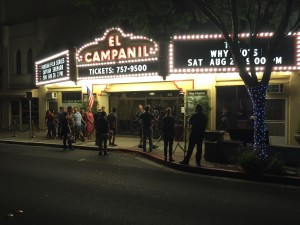 Shooting outside El Campanil Theatre.