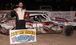 Rookie Guy Ahlwardt #10 clinched the 2016 Hobby Stock championship with his latest Main Event victory.  Photo By Paul Gould