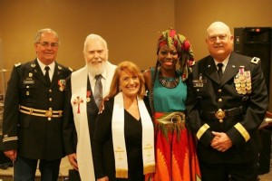 From L to R: Colonel Timothy Vaughn, Rev. Austin Miles,Chaplain Trainer Priscilla Martinez, Felicia Purcell, General Dan Helix. photo by Jane Vaughn