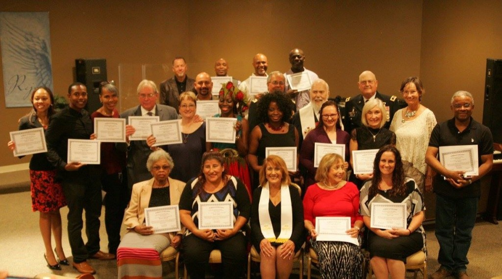 The new East Bay Chaplains display their certificates. Top Row: Pastor Will Byrns from His Praise in Antioch, Pastor Charles Salter, John Foster, Jeffery Robinson. Second Row: Rudy Hernandez, Tim Vaughn, Reverend Austin Miles, Major General Dan Helix. Third Row: Salena Boatner-Miller and her husband Pastor George Miller, Pat Martin, Bill Swenson and his wife Julie Swenson, Felicia Purcell, Angrett Davies, Dusty Salazar, Karen Manuel, Laura Collin, Jose Chavez. Seated: Kermese Harrell, Segura, Chaplain Priscilla Martinez and Olga Chavez. photo by Jane Vaughn
