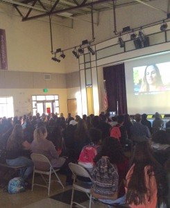 Dallas Ranch Middle School girls watch The Empowerment Project film on Tuesday on morning. photo by Hilda Parham