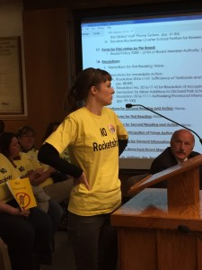 Antioch High School teacher Sara Savacool speaks to the Board wearing a T-shirt with her position on the Rocketship charter school petition at the Board meeting on Wednesday, October 9, 2016.