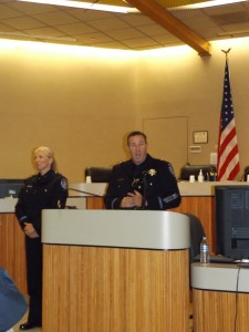 Newly promoted Lt. Tara Mendez smirks as Chief Cantando shares some funny information about her career with the APD.