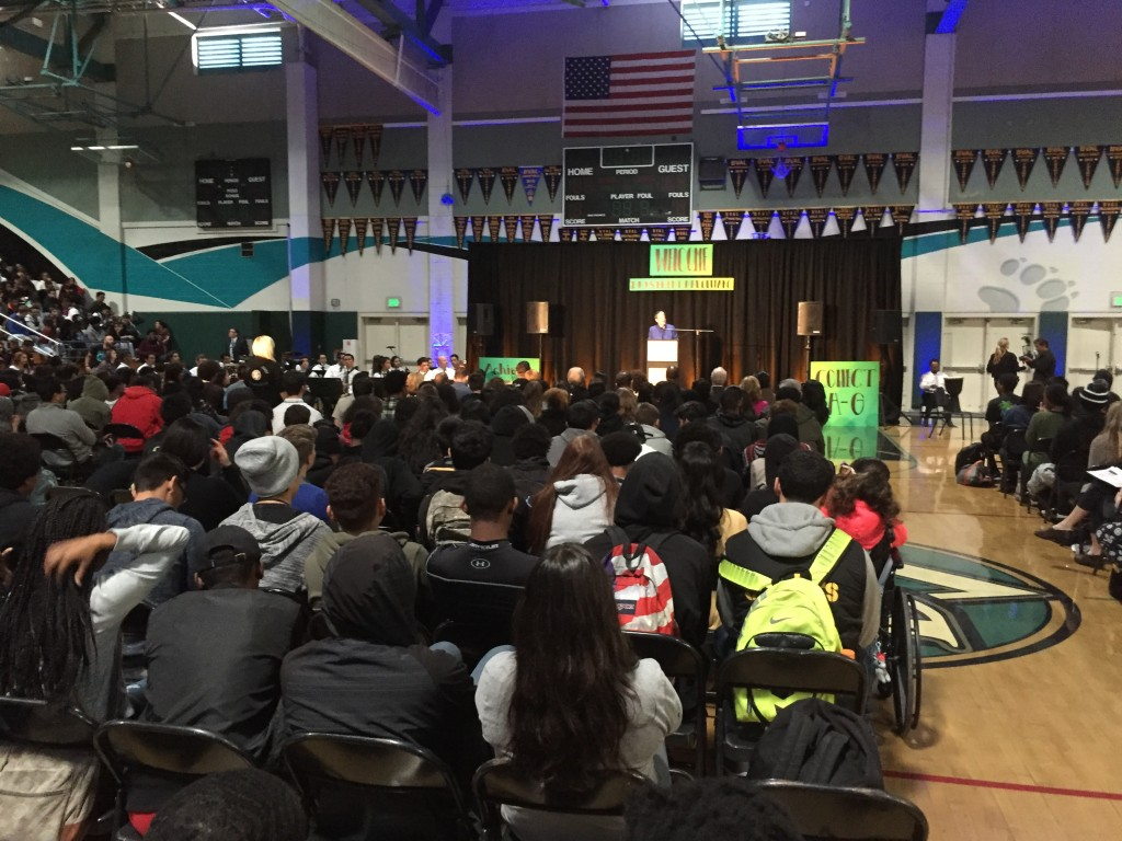 University of California system President Janet Napolitano speaks to a gymnasium full of students, faculty and staff at Deer Valley High School on Wednesday morning, November 1st, 2016.