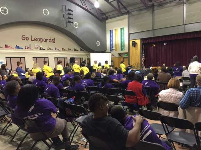 Supporters of the proposed Rocketship charter school in Antioch wore purple shirts, while opponents wore yellow shirts, at the Antioch School Board's public hearing on the matter, on Wednesday, November 9, 2016.