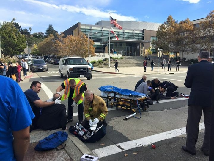 The scene at the intersection of Court and Main Streets in Martinez, following the hit and run of three pedestrians in the crosswalk, Monday morning. Photo by Angrett Davies