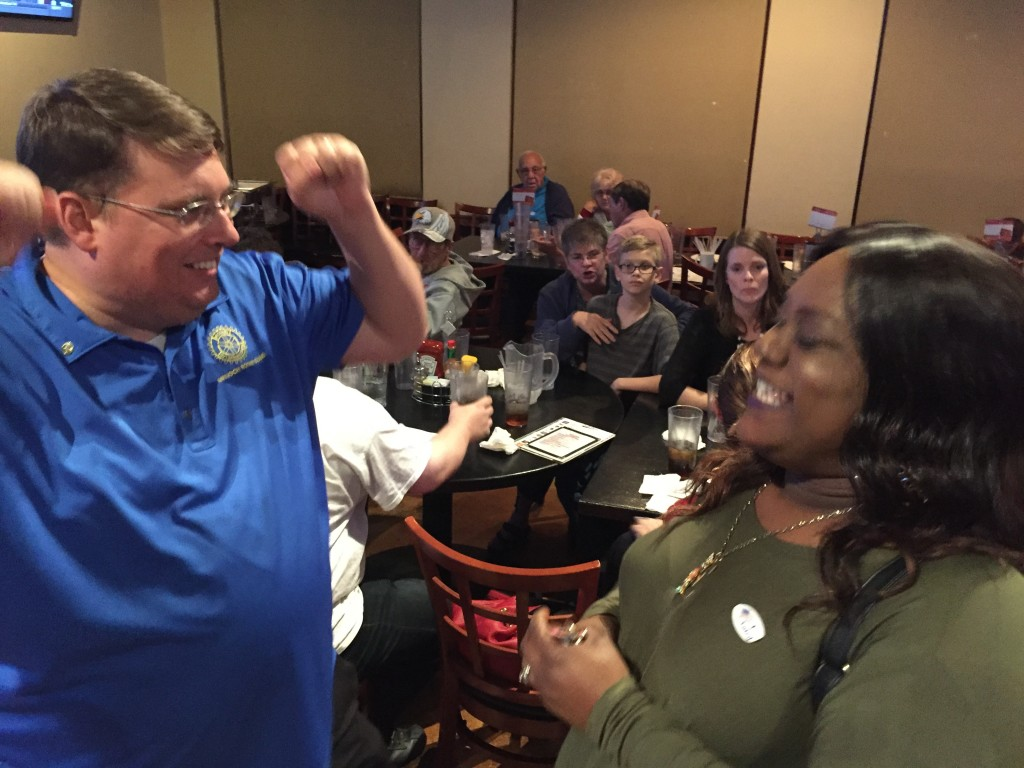 Expected Antioch Mayor-elect Dr. Sean Wright celebrates the positive election results with Antioch business owner Elise Veal, other supporters, friends and family at Tailgaters on Tuesday night.