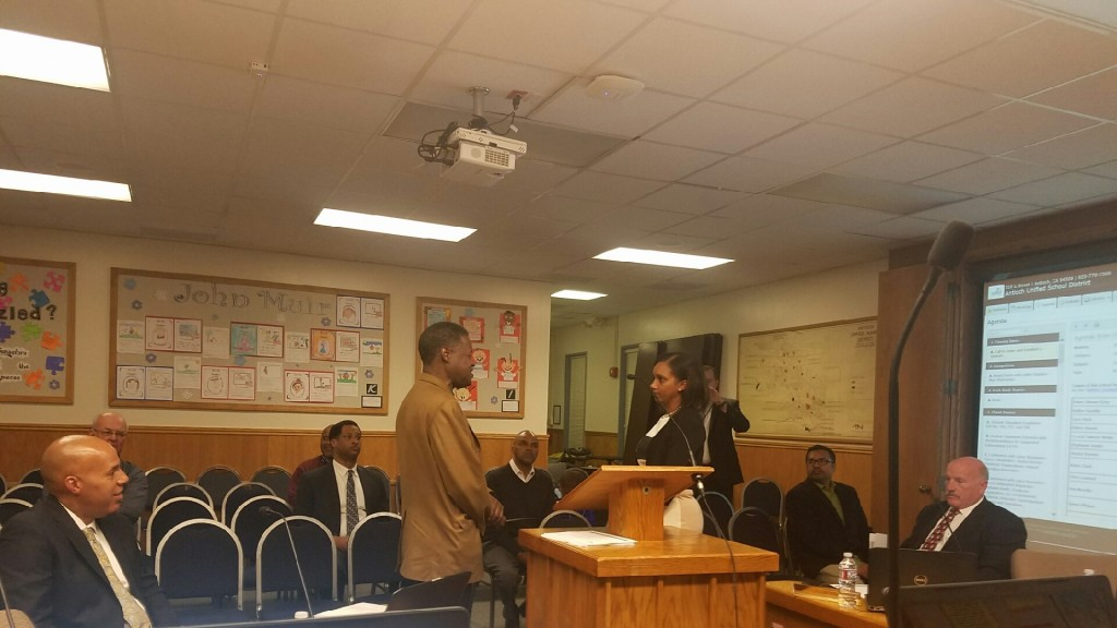 Few people were in attendance when new Antioch School Board Trustee is given her oath of office by County Supervisor Federal Glover during a special session, before the regular Board meeting, Wednesday night, December 14, 2016. Photo by Debra Vinson.