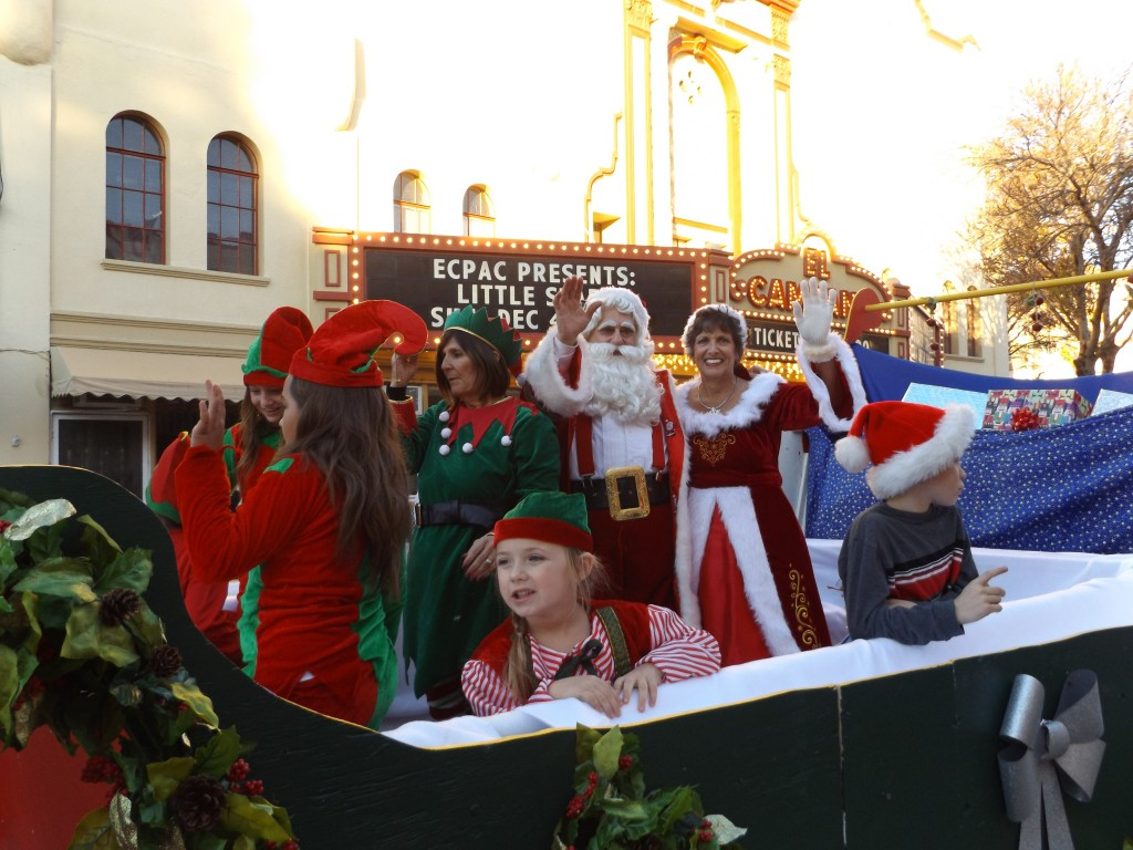 Santa & Mrs. Claus (aka Angelo & Sharon Pappas), make an appearance with some elves in their sleigh during Antioch's annual Holiday DeLites Parade in downtown, Saturday, December 3, 2016.