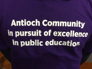 The slogan on one of the shirts of the Antioch supporters of the Rocketship charter school.