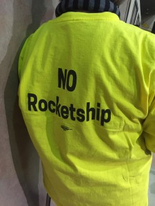 A shirt worn by an opponent of the Rocketship charter school in Antioch.