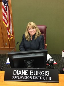 Diane Burgis in her new seat on the Contra Costa County Board of Supervisors.