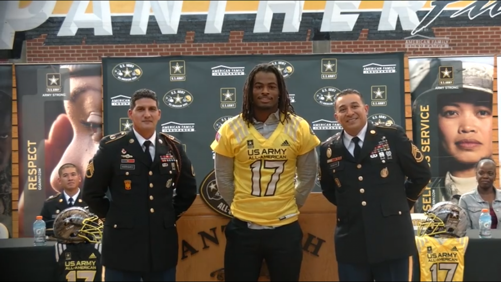 Antioch High running back Najee Harris wearing the jersey as a U.S. Army All American, following a ceremony at the school's gymnasium on October 7, 2016.