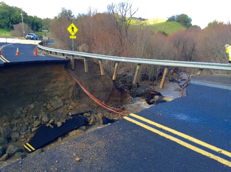 Damage to Alhambra Valley Road between Bear Creek Road and Castro Ranch Road. courtesy of CCCSheriff