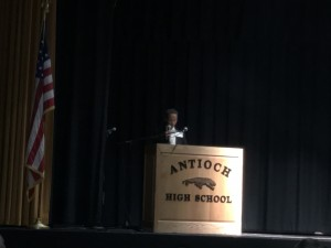 Antioch High sophomore Sage Bennett reads his award winning poem.