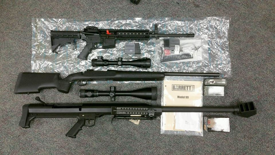The cache of weapons seized by a the county's CASE Team from a Pittsburg home on Tuesday, Jan. 24, 2017. photo courtesy of CCCSheriff